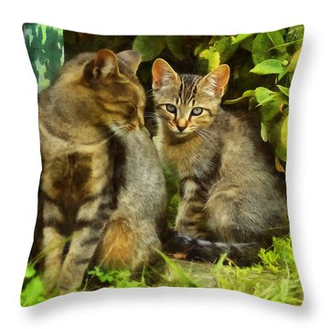 A Pair Of Feral Cats Throw Pillow