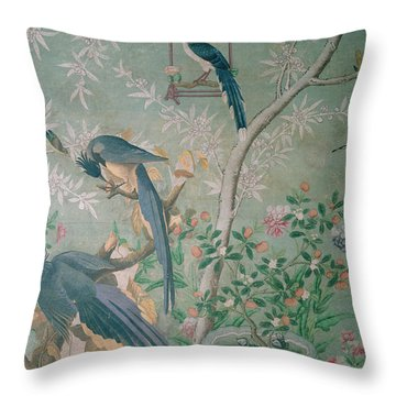 A Pair Of Magpie Jays  Vintage Wallpaper Throw Pillow by John James Audubon