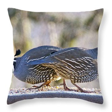 A Pair Of Quail Throw Pillow