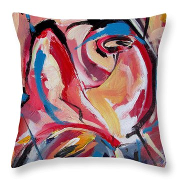 Throw Pillow featuring the painting A Pair Of Roses by John Jr Gholson