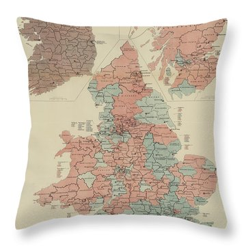 A Parliamentary Map Of The United Kingdom Of Great Britain And Ireland Throw Pillow