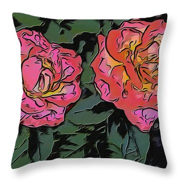 A Parrot And A Tiger Or Two Roses Throw Pillow