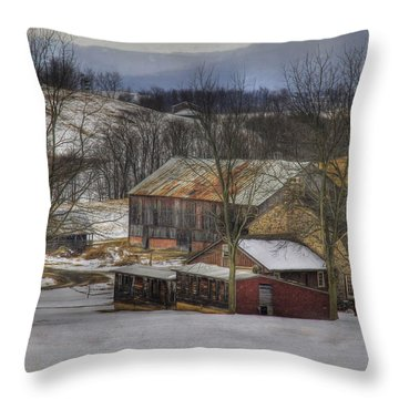 A Passing Snow Squall Throw Pillow by Sharon Batdorf