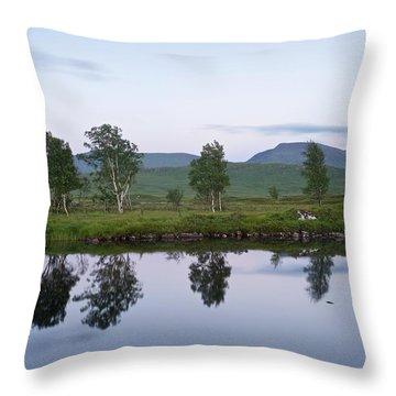 A Pastel Sky Over Loch Ba Throw Pillow