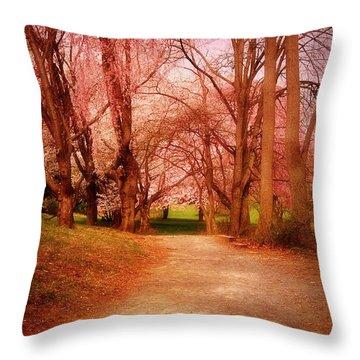 A Path To Fantasy - Holmdel Park Throw Pillow by Angie Tirado
