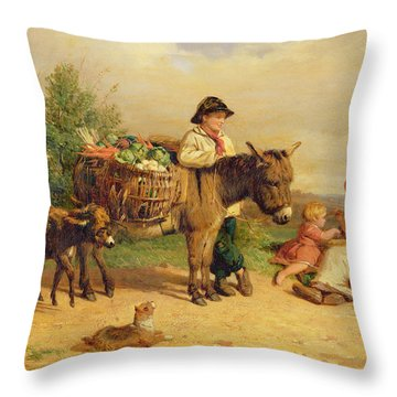 A Pause On The Way To Market Throw Pillow by J O Bank