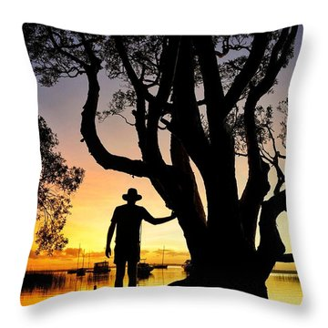 Throw Pillow featuring the photograph A Peaceful Dawn Down By The Lake by Keiran Lusk