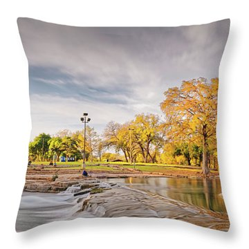 A Peaceful Fall Afternoon At Rio Vista Dam Park - San Marcos Hays County Texas Hill Country Throw Pillow