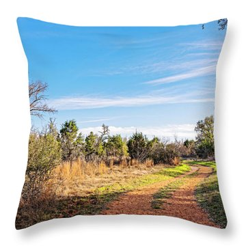 A Peaceful Stroll Along The Hackenburg Loop At Pedernales Falls State Park - Texas Hill Country Throw Pillow