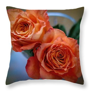 Throw Pillow featuring the photograph A Peach Delight by Diana Mary Sharpton