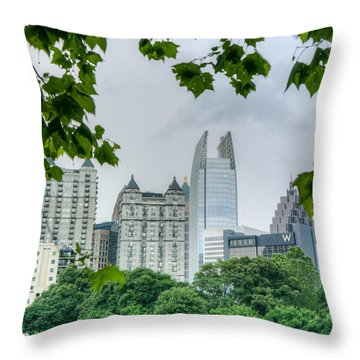 A Peek At The Atlanta Skyline Throw Pillow
