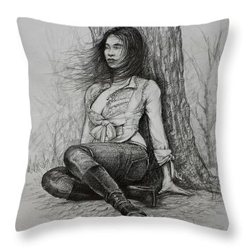 Throw Pillow featuring the drawing A Pensive Mood by Harvie Brown