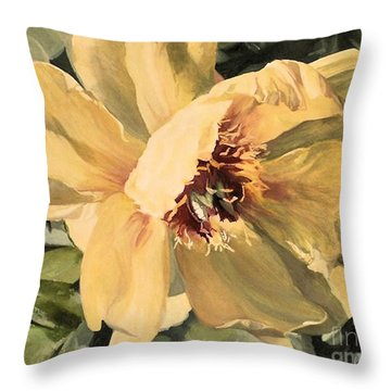 Throw Pillow featuring the painting A Peony For Miggie by Laurie Rohner