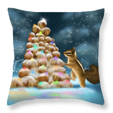 Throw Pillow featuring the painting A Perfect Christmas Tree by Veronica Minozzi