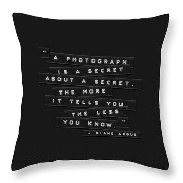 A Photograph Is A Secret Embossed Labels Throw Pillow