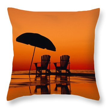 A Picturesque Scene With Two Chairs Throw Pillow by Michael Melford