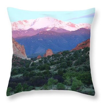 A Pikes Peak Sunrise Throw Pillow by Eric Glaser