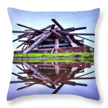 Throw Pillow featuring the photograph A Pile Of Wood by Quality HDR Photography