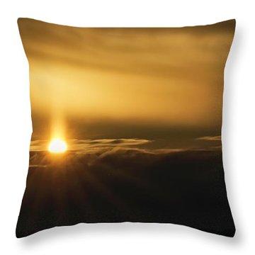 A Pillar Of Golden Light Throw Pillow by Brad Allen Fine Art