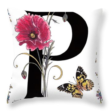 A Pink Poppy And A Painted Lady Butterfly Throw Pillow by Stanza Widen