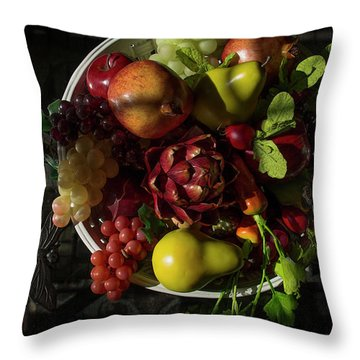 A Plate Of Fruits Throw Pillow