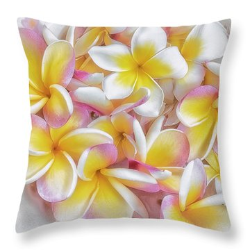 A Plate Of Plumerias Throw Pillow