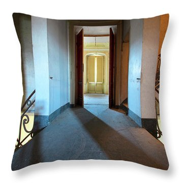 Throw Pillow featuring the photograph A Play Of Light On Ythe Stairway by Dirk Ercken