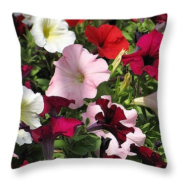 A Plethora Of Petunias Throw Pillow