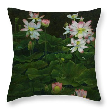 A Pond Full Of Water Lilies And Youtube Video Throw Pillow by Roena King