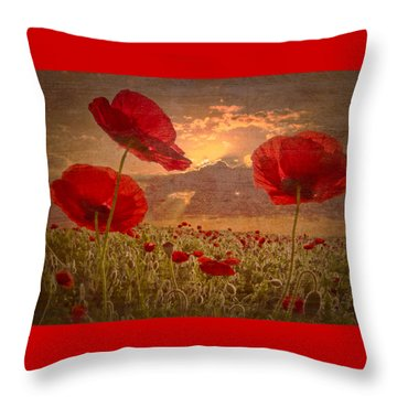 A Poppy Kind Of Morning Throw Pillow