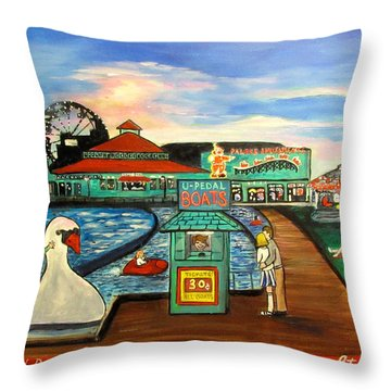 A Postcard Memory Throw Pillow by Patricia Arroyo
