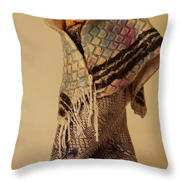 Throw Pillow featuring the sculpture A Prayer In Talit by Itzhak Richter