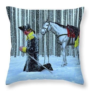 A Prayer In The Snow Throw Pillow by Dave Luebbert
