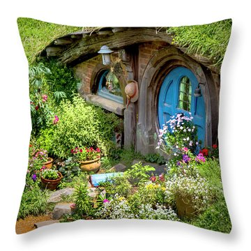 A Pretty Hobbit Hole Throw Pillow