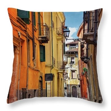 A Pretty Little Street In Verona Italy  Throw Pillow