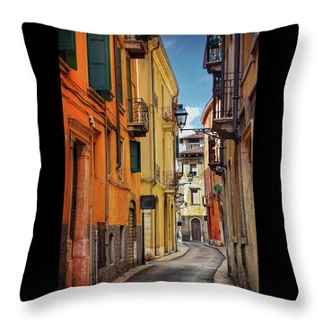 Throw Pillow featuring the photograph A Pretty Little Street In Verona Italy  by Carol Japp