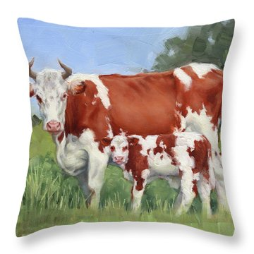 A Pretty Pair Miniature Painting  Throw Pillow