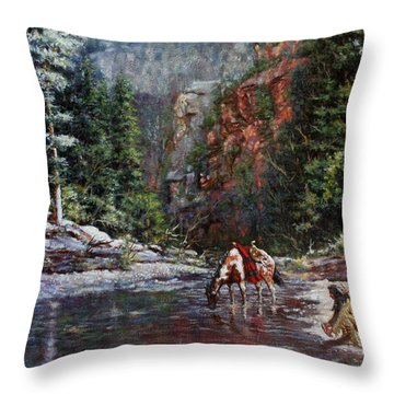 Throw Pillow featuring the painting A Prospector's Pan by Harvie Brown