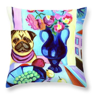 A Pug's Dinner At Henri's - Pug Throw Pillow by Lyn Cook