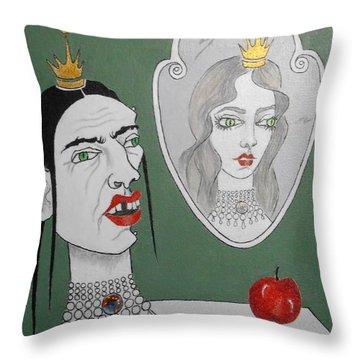 A Queen, Her Mirror And An Apple Throw Pillow