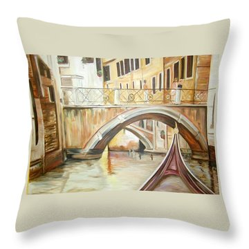 A Quiet Canal Throw Pillow