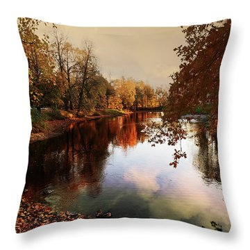 a quiet evening in a city Park painted in bright colors of autumn Throw Pillow
