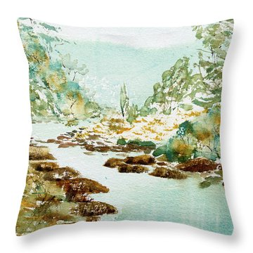 A Quiet Stream In Tasmania Throw Pillow
