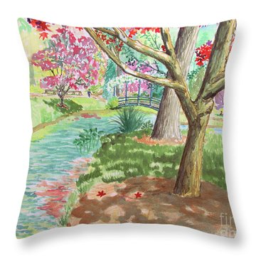 A Quiet Stroll In The Japanese Gardens Of Gibbs Gardens Throw Pillow