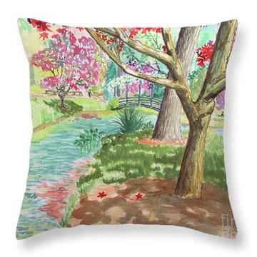 A Quiet Stroll In The Japanese Gardens Of Gibbs Gardens Throw Pillow