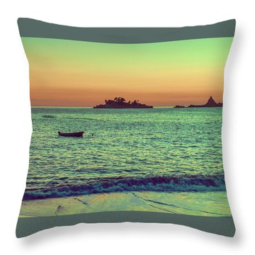 A Quiet Summer Evening On The Montenegrin Coast Of The Adriatic Sea Throw Pillow