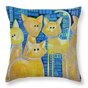 A Quorum Of Cats Throw Pillow