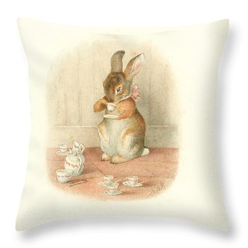 Throw Pillow featuring the painting A Rabbit's Tea Party by Beatrix Potter