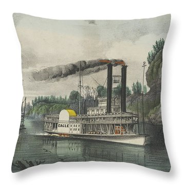 A Race On The Mississippi, 1870 Throw Pillow