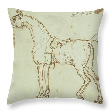 A Racehorse, Bridled And Saddled  Throw Pillow
